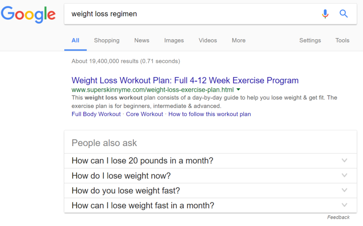 weight loss regimen